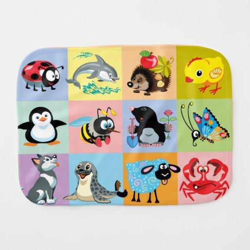 cartoon animals for kids baby burp cloth