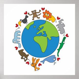 Cartoon Animals of the World Poster