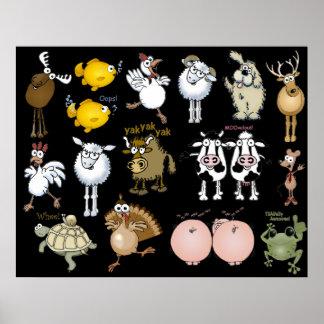 Cartoon animals on a poster