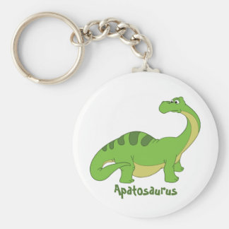 Cartoon Apatosaurus Basic Round Button Key Ring