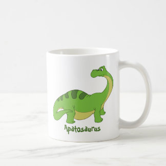 Cartoon Apatosaurus Basic White Mug