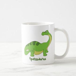 Cartoon Apatosaurus Basic White Mug