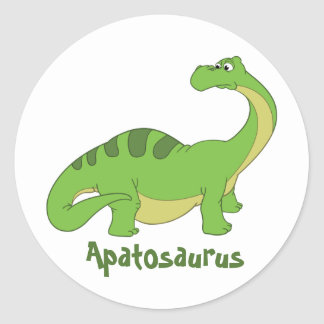 Cartoon Apatosaurus Round Sticker