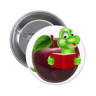 Cartoon Apple Bookworm 6 Cm Round Badge