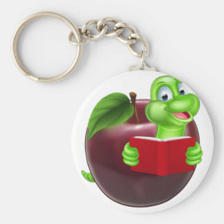 Cartoon Apple Bookworm Basic Round Button Key Ring