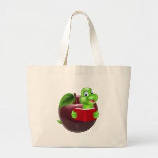 Cartoon Apple Bookworm Large Tote Bag