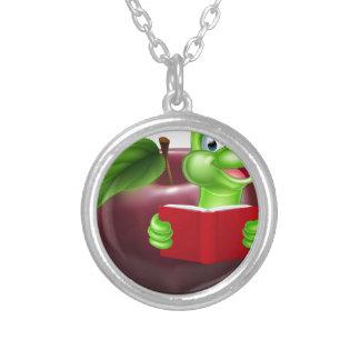 Cartoon Apple Bookworm Round Pendant Necklace
