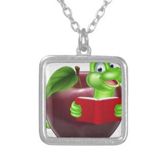 Cartoon Apple Bookworm Square Pendant Necklace