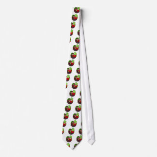 Cartoon Apple Bookworm Tie