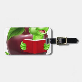 Cartoon Apple Bookworm Travel Bag Tags