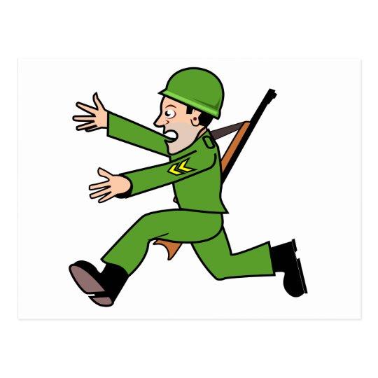Cartoon Army Soldier Postcard