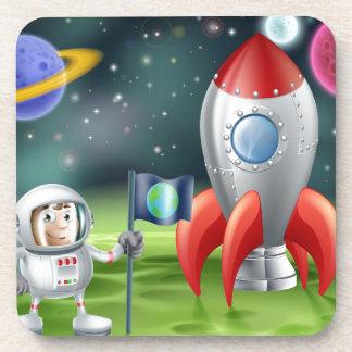 Cartoon astronaut and vintage rocket coasters