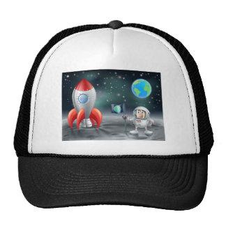 Cartoon astronaut vintage space rocket on moon cap