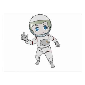 Cartoon Astronaut Waving Postcard