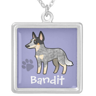 Cartoon Australian Cattle Dog / Kelpie Silver Plated Necklace