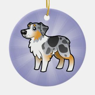 Cartoon Australian Shepherd (add your own message) Christmas Ornament