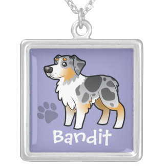 Cartoon Australian Shepherd (add your pets name) Silver Plated Necklace