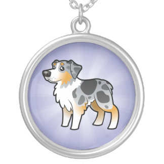 Cartoon Australian Shepherd Silver Plated Necklace