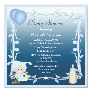 Cartoon Baby, Bottle & Balloons Blue Baby Shower Announcements