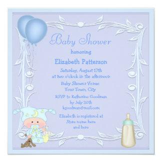 Cartoon Baby, Bottle & Balloons Blue Baby Shower Custom Invitations