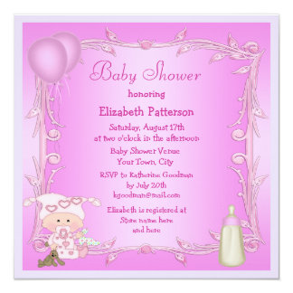 Cartoon Baby, Bottle & Balloons Pink Baby Shower Personalized Invite