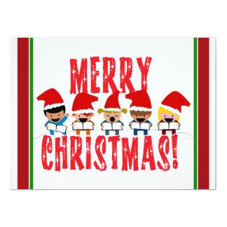 Cartoon Baby Carolers - Merry Christmas 6.5x8.75 Paper Invitation Card