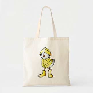 Cartoon Baby Chick Wearing a Raincoat Canvas Bags