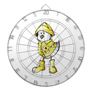 Cartoon Baby Chick Wearing a Raincoat Dartboard With Darts