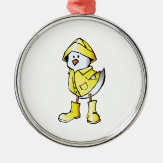 Cartoon Baby Chick Wearing a Raincoat Christmas Tree Ornament
