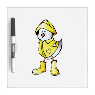 Cartoon Baby Chick Wearing a Raincoat Dry Erase Boards