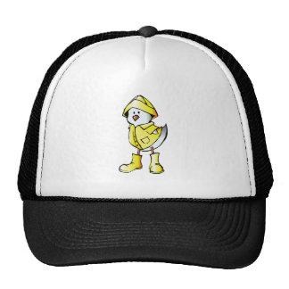 Cartoon Baby Chick Wearing a Raincoat Trucker Hats