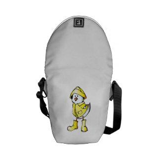 Cartoon Baby Chick Wearing a Raincoat Messenger Bags