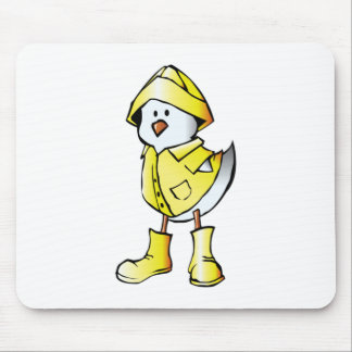 Cartoon Baby Chick Wearing a Raincoat Mouse Pads