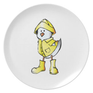 Cartoon Baby Chick Wearing a Raincoat Dinner Plate