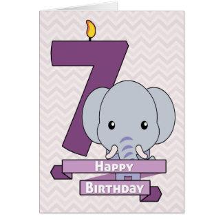 Cartoon Baby Elephant for Child's Birthday Greeting Card