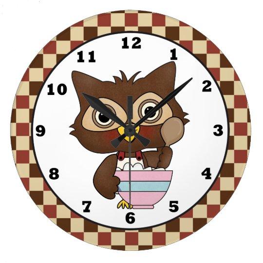 Cartoon Baking Owl Kitchen wall clock