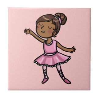 Cartoon Ballet Dancer Small Square Tile
