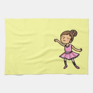 Cartoon Ballet Dancer Tea Towel