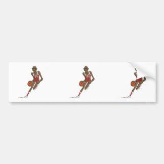 cartoon basketball player character dribbling bumper sticker