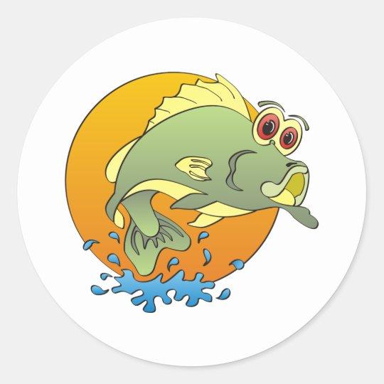Cartoon Bass Classic Round Sticker