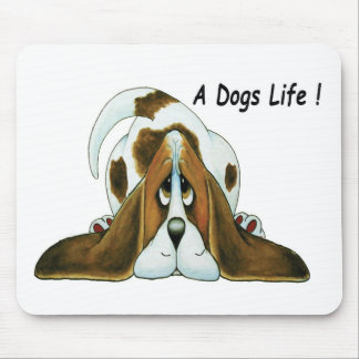 Cartoon Basset Hound, A Dog's Life Mouse Mat