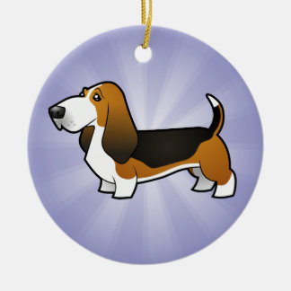 Cartoon Basset Hound (add your own message) Round Ceramic Decoration