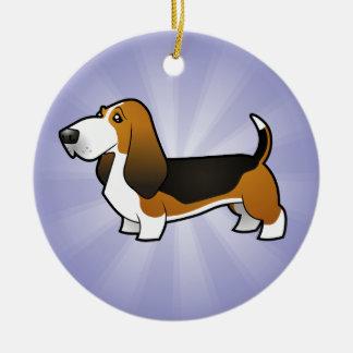 Cartoon Basset Hound Christmas Ornament