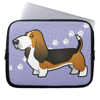 Cartoon Basset Hound Laptop Sleeve