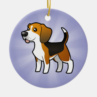 Cartoon Beagle (add your own message) Christmas Ornament