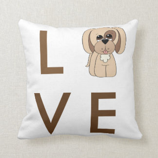 Cartoon Beagle Love Dog Pillow