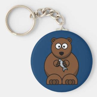 Cartoon Bear Basic Round Button Key Ring