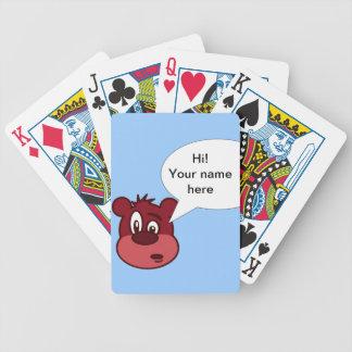 Cartoon bear bicycle playing cards