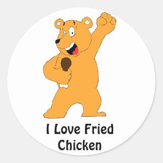 Cartoon Bear Holding Fried Chicken Drumstick Round Sticker