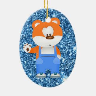 cartoon bear in overalls christmas ornament